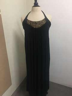Black Halter Maxi dress can be Maternity dress