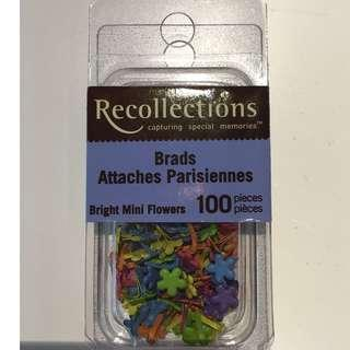 Scrapbooking Embellishments Recollections Bright Mini Flowers Brads 100 pieces Craft Paper Invitations