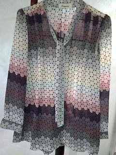 🚚 Dingxin高質感優雅紡紗可綁領結上衣