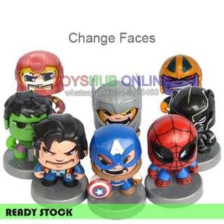 Mighty Muggs Funko Changing Face Avengers Toy Thanos Ironman Spiderman Hulk
