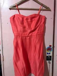 Orange Woven Dress Coral
