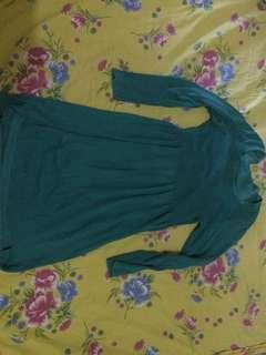 dress rajut hijau tosca
