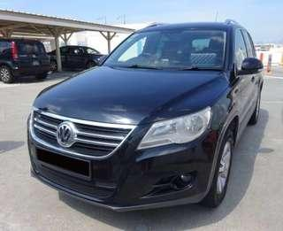 Black sporty Volkswagen Tiguan for immediate short term Long term rental! SUV MPV sedan all available at Low prices!