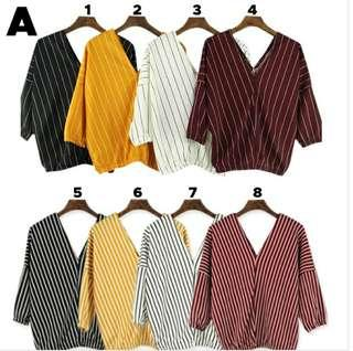 Chiffon Tops Long V Neck Stripes Shirt