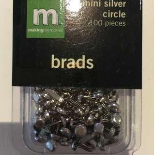 Scrapbooking Embellishments Making Memories Mini Silver Circle Brads 100 pieces Craft Paper Invitations