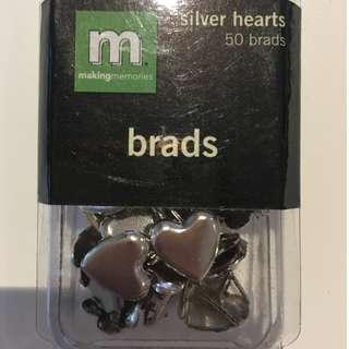 Scrapbooking Embellishments Making Memories Silver Heart Brads 50 pieces Craft Paper Invitations