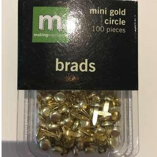 Scrapbooking Embellishments Making Memories Mini Gold Circle Brads 100 pieces Craft Paper Invitations