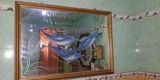 Mirror like dolphin designed wall decor