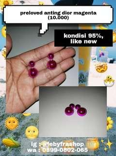 #bersihbersih Preloved anting dior magenta