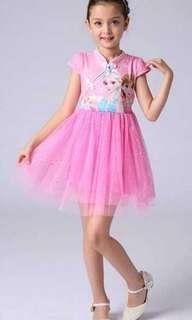 [FOC Registered Mail] (Free Tiara and Wand) Instock 3/4pcs each only - Brand new Frozen Cheongsam Qipao Dress Skirt for Girl Toddler Baby