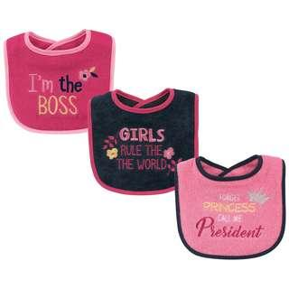 Luvable Friends 3 pcs Pink Call Me President Baby Drool Bibs IBY01728