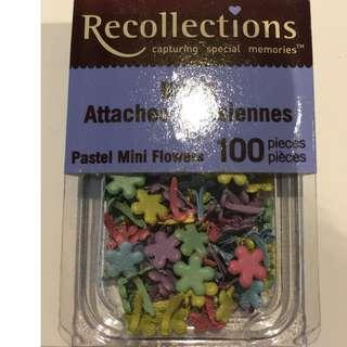 Scrapbooking Embellishments Recollections Pastel Mini Flower Brads 100 pieces Craft Paper Invitations