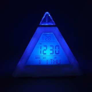 Pyramid Colour Changing Alarm Clock
