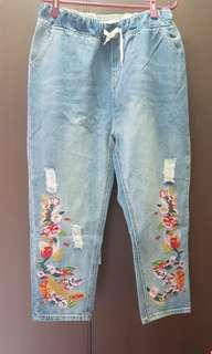 China embroidery jeans
