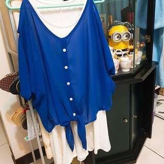 🚚 寶藍色挖肩罩衫/白色背心裙/藕色罩衫/白色罩衫