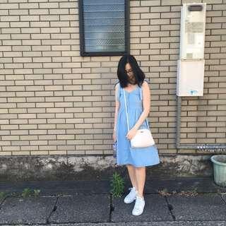 Tie strap blue dress
