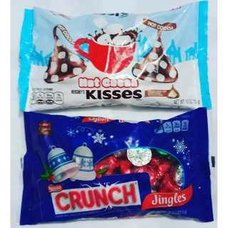 Hershey's kisses hot cocoa & Nestle crunch jingles set