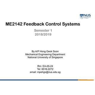 NUS ME2142 Feedback and Control Systems