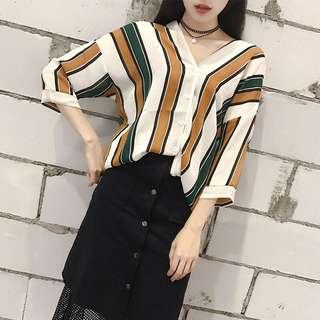(2Col) Button Up V Neck Vertical Stripe Blouse