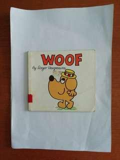 Woof children's book. Written by Roger Hargreaves.