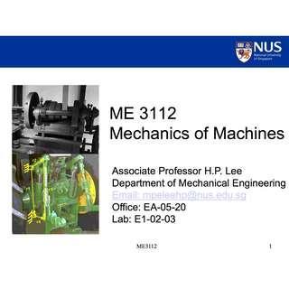 NUS ME3112 Mechanics of Machines