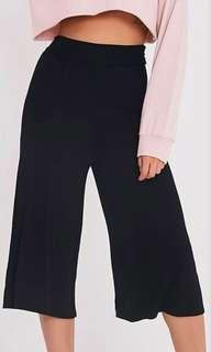 Temt basic black wide leg culottes pants