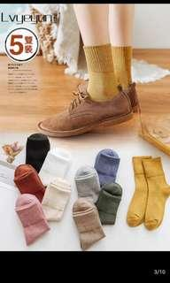 [PO] 5 Pairs High Ankle Knee Basic Colour Thick Socks Ulzzang