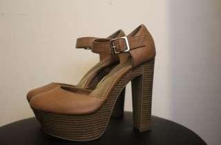 Womens Leather Tan Wooden Heels