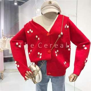 TC3283 Korea Cherries Cardigan (Red,Beige,Black)