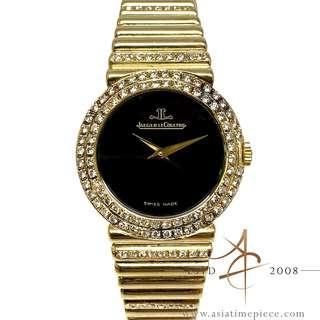 [Rare] Jaeger LeCoultre Onyx Dial 18K Gold Diamond Vintage Ladies Watch (1983)
