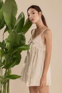 Linen Babydoll Romper Dress (Beige)