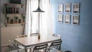 IKEA melltorp white table & NISSE black chairs