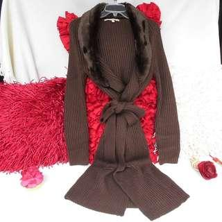 Authentic Easel Lane Crawford Faux Fur Cardigan Coat Jacket