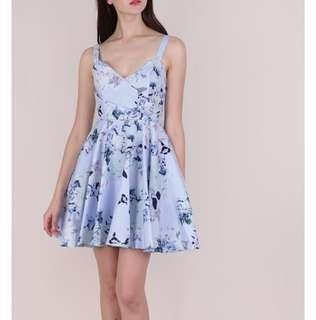 🚚 [TTR] Dolce Pleat Front Dress (Periwinkle Florals)