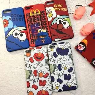 [po] #067 sesame street elmo/cookie monster kaws phone case