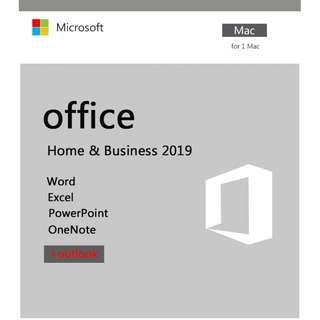全新原裝正版 Microsoft Office 2019Home & business for Mac 家用及商業版 軟件 key 中英文, 一用戶跟帳號版