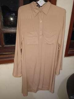 dress kemeja nude brown cream