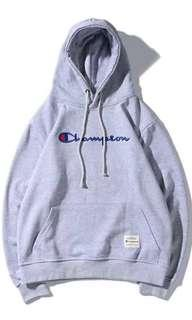 champion grey embroidered hoodie/ pullover