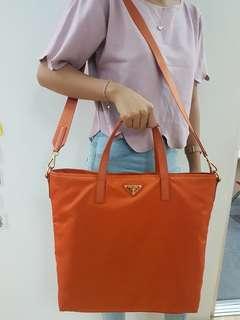 Authentic Orange Prada Bag