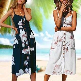 🚚 Floral Midi Button Dress