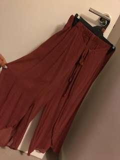 Zara crepe flowy split wide leg pants