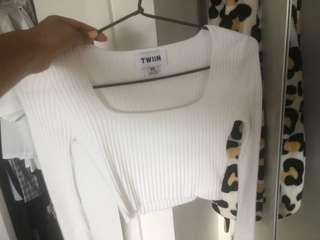 Twiin the label long sleeve ribbed cropped top