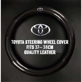 Toyota Leather CF Steering Wheel Cover