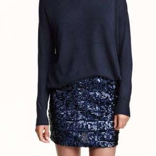 H&M Skirt with Sequined Embroidery in Navy Blue