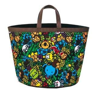 日本雜誌 BAPE KIDS 附贈大容量收納提袋 收納袋 收納包 置物籃 洗衣籃 雜物桶 玩具桶 猿人 猴子 APE