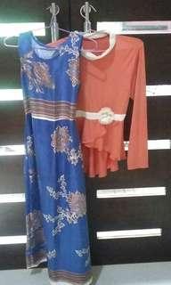 1 set vintage long dress