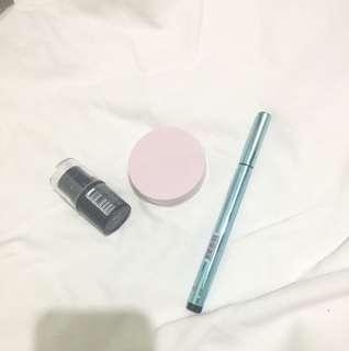 Buy Two get One! Maybelline two way cake, Sansan eyeliner and Lol Highlighter