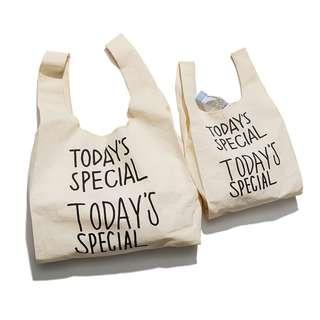 日系原宿 TODAY'S SPECIAL 米色 棉布 托特包 棉布袋 手提袋 單肩包 購物袋