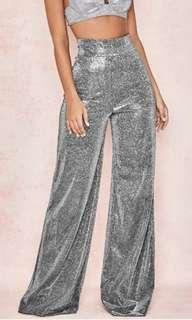 Silver Shimmer Wide-Leg Trousers