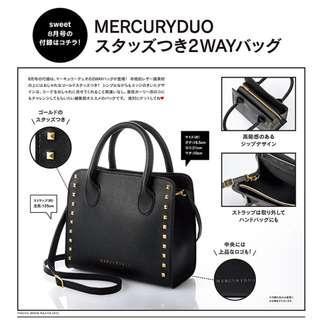 日本雜誌 Sweet 附贈 MERCURYDUO 黑色個性鉚釘包 托特包 斜背包 肩背包 單肩包 斜肩包 側背包